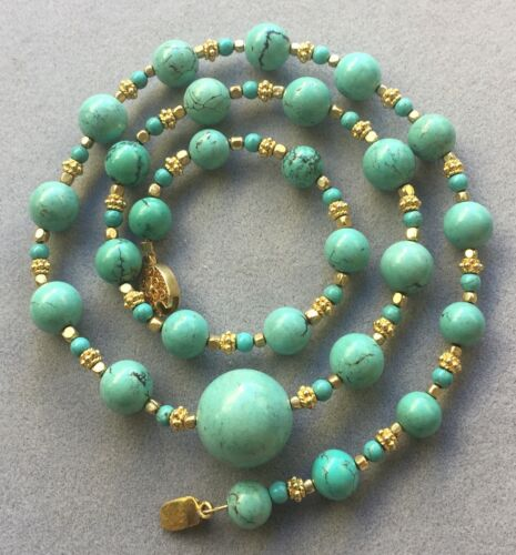 Vintage Chinese Natural Turquoise Beads Necklace SILVER Clasp
