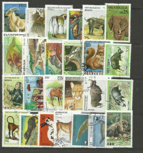 WILD ANIMALS Collection Packet 25 Different Stamps (Lot 1)