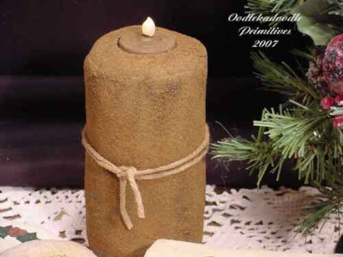 Primitive Fake Flickering Light Pillar Candle Paper Pattern Table Topper