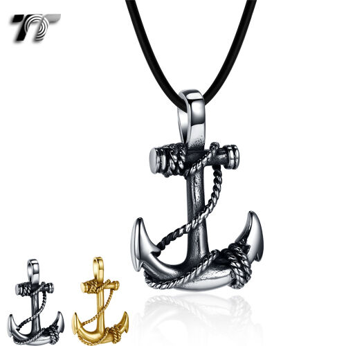 TT 316 Stainless Steel Anchor Pendant Necklace Silver/Gold (NP338) NEW