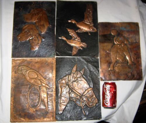 5 COPPER ARCHITECTURAL GARDEN ART SIGN PLAQUE PANEL HORSE DOG BIRD DUCK ELEPHANT