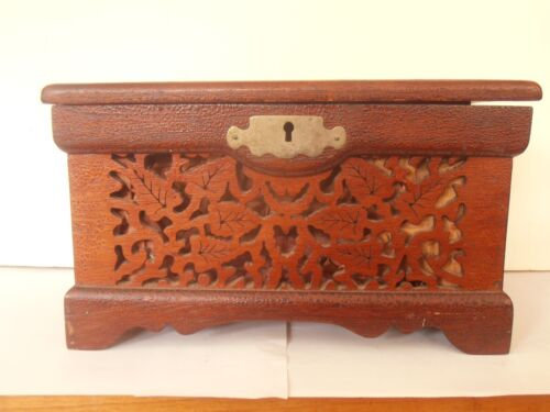"Antique VICTORIAN Sewing box in Walnut Hand painted with fretwork 9""x 5"""