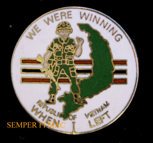 WE WERE WINNING WHEN I LEFT VIETNAM WAR LAPEL HAT PIN UP US ARMY NAVY AIR FORCE Other Militaria (Date Unknown) - 66534