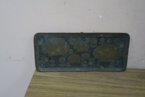 "VINTAGE MODERNIST SIGNED STEINLIN HAMMERED BRASS & MIXED METAL TRAY  3.5"" X 8.5"""