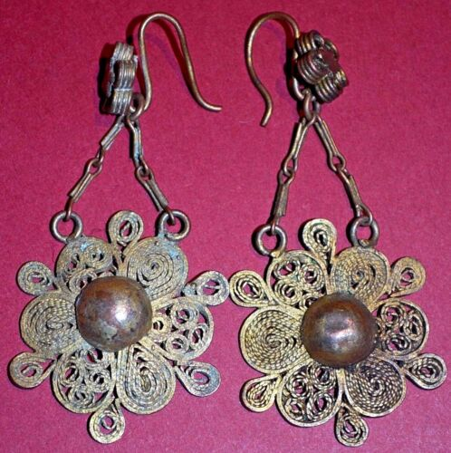 Antique Rare Yoruba African Tribal Gilded Brass Filigree Earrings Nigeria Africa