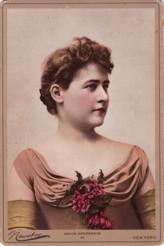 GRACE HENDERSON ~ HAND COLORED ~ VICTORIAN STAGE ACTRESS ~ c.- 1890