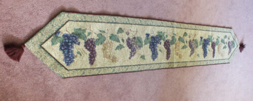 """Collectible Tapestry Table Linen 70 x 12 1/2"""" + 3"""" Tassels Grape Design WOW"""