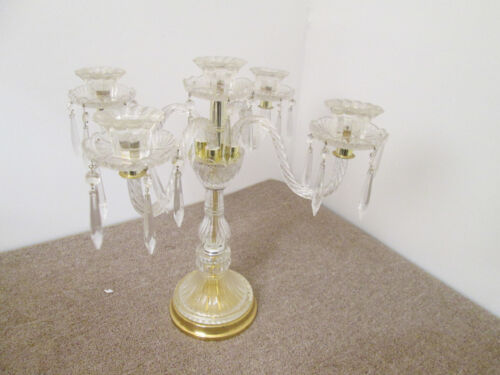 56856  Brass and Glass 4 arm Candelabra Candle Holder with Prisms