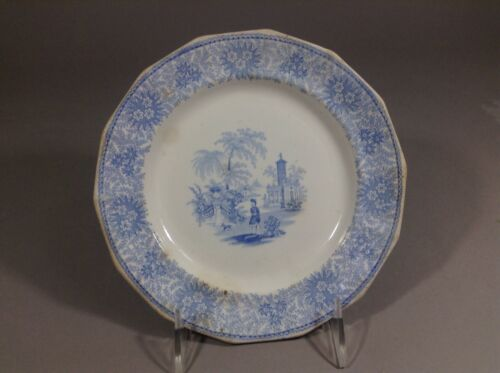 Antique Blue Staffordshire W. Adams plate 19c