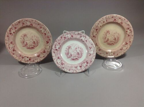 """Antique Historical Staffordshire Rhone Pattern Hn&A Plate 6.5"""" 3pc"""