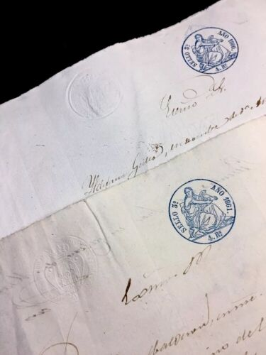 LOT OF TWO SPANISH PAPERS 1860,1861