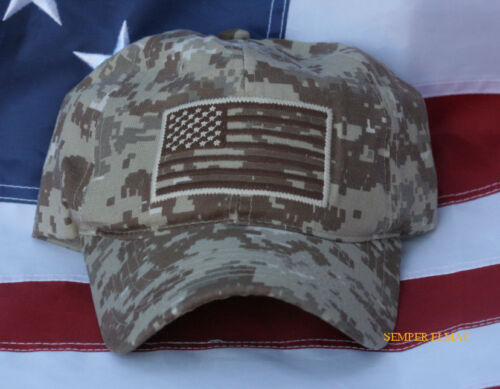 USA US FLAG HAT EMBROIDERED OD DIGITAL DESERT TAN CAMOUFLAGE CAP PIN UP VETERANOther Militaria (Date Unknown) - 66534