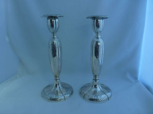 Windsor Castle-Tuttle Sterling Pair of Hand Chased Candlesticks-Mono'D