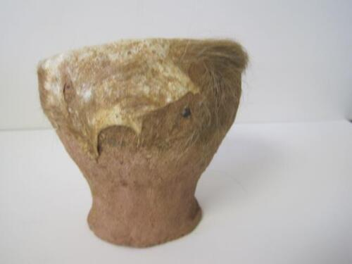 """ANTIQUE SUDAN CLAY HAND DRUM W/ LEATHER HAIR-ON HIDE TOP DALUKA SUPER RARE 4.5"""""""