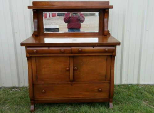 ANTIQUE E DEC 1915 Sideboard Buffet Server WITH BACK MIRROR