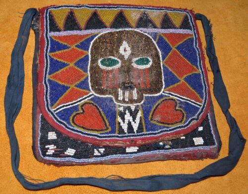 Antique Yoruba Tribe Beaded Kings Shoulder Bag W Paper Oba's Name Nigeria Africa