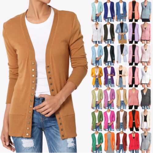 TheMogan Women's Classic Button V-Neck Long Sleeve Knit Sweater Cardigan S~3XL