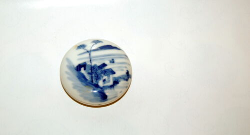 Antique Chinese Ming Wanli Dynasty Blue White Porcelain Seal Paste Round Box