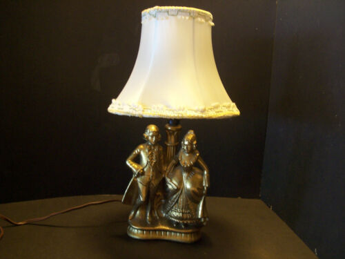 Art Deco SPELTER  Man & Lady table Lamp w/shade Brass Tone 1900-1940 USA