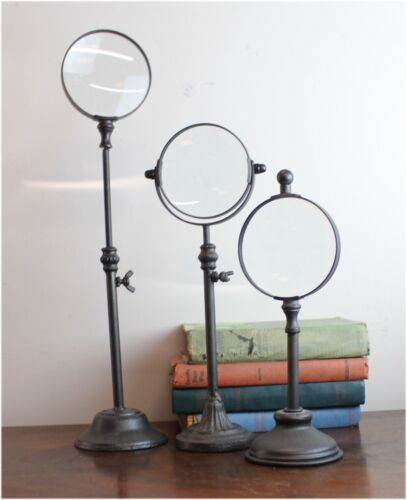 Standing Magnify Glass Set 3 pcs on Pedestals Heights Vary Iron Metal Old