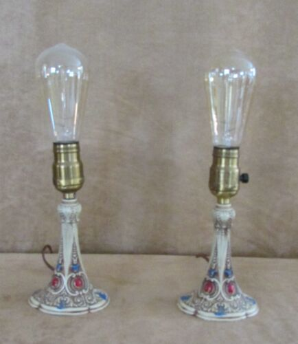 1920s Cast Iron pair electric lamp vintage art nouveau deco pattern candlestick