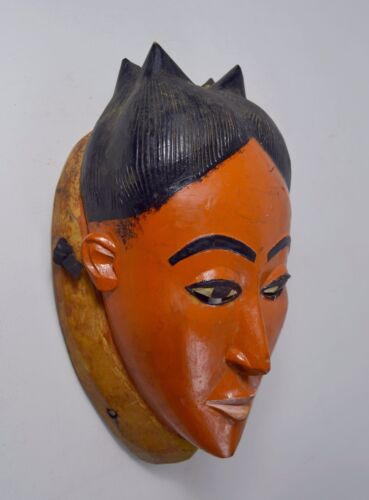 Beautiful Vintage Painted Baule African Mask African Art