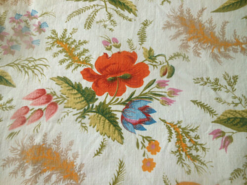 Vintage French Botanical Poppy Floral Cotton Fabric ~ Tangerine Blue ~ Boussac
