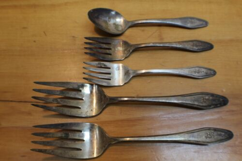 "5 Piece New Salem Silverplate Flatware Dinner Forks Monogram ""E"""