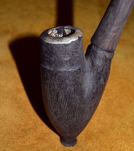 Antique African Tobacco Pipe W Aluminum Lined Wooden Bowl & Wood Stem, Africa