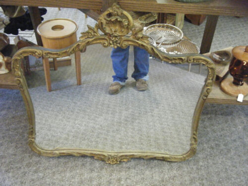 "Antique Victorian ornate Carved Wood Gold Gilt Framed wall mirror 36"" x 34 1/4"