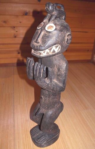 Antique Baule Mbra African Possession Cult Gbekre Monkey Wood Statue Ivory Coast
