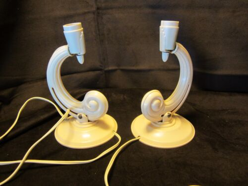 Original Pair Art Deco Boudoir Table Lamps Wall sconces Beige plastic 1920's USA