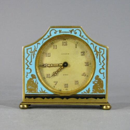 Antique KIENZLE Enamel and Gilt Brass Art Deco Desk Clock, Germany c. 1920's