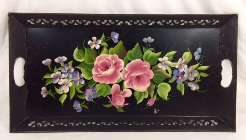 """Large Black Metal Hand Painted Roses Floral Toleware Tole Tray 22.50"""" x 11.75"""""""