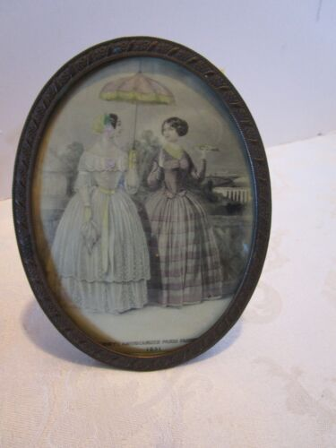 Antique Oval Brass Easel Frame Convex Glass & print Godey's Paris Fashion 1850s