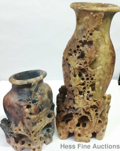 Antique Carved Chinese Qing Pair of FlowerVases Soapstone Ex Bradshaw Latham