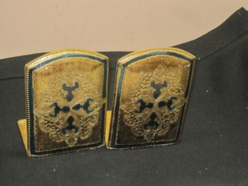 """Pair @ 2 Vintage Florentine Tole Gilt Wooden Bookends Green Gold 4.5"""" x 6"""" Italy"""