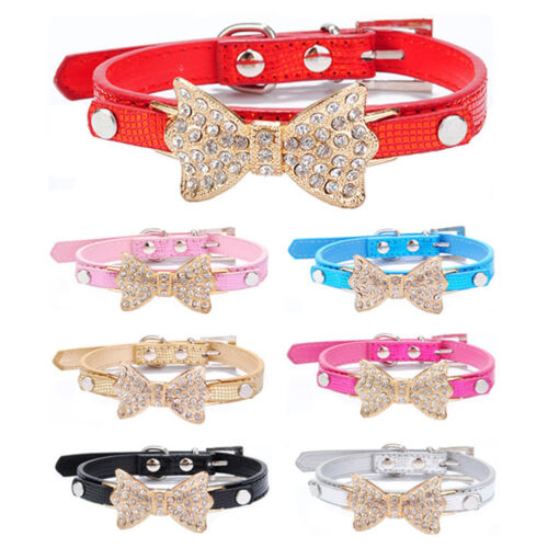 Cute Puppy Pet Dog Cat Collar Bling Rhinestone Bow Crystal Bowknot Collars NEW