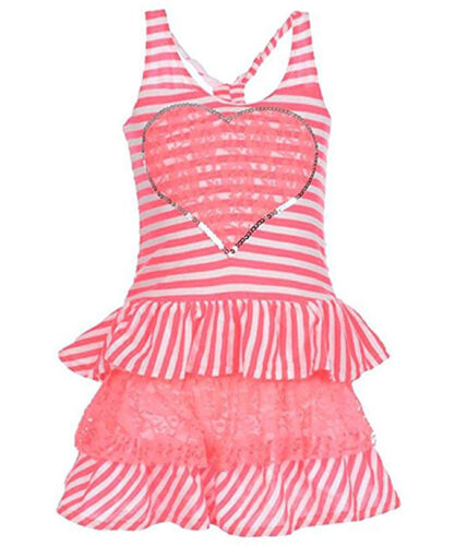 Kidzone Girls Toddler/Little Girls Pink Striped Dress Size 2T 3T 4T 4 5 6