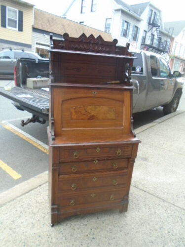 Antique Eastlake Victorian Drop Front Desk Secretary with Carved Gallery19th Cen