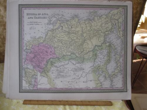 Vintage Print,RUSSIA IN ASIA+TURKEY,Johnson or Mitchell,c1850,Color