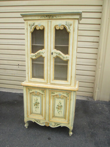 57505   2 piece Decorator French Country Hand Painted Cabinet Chest