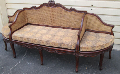 57717  FRENCH COUNTRY CANED 3 SEAT SETTEE SOFA W/ REMOVABLE CUSHIONS