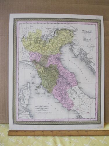 Vintage Print,ITALY,North Part,Johnson or Mitchell,c1850,Color