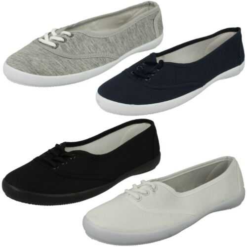 Ladies Spot On Lace Up Canvas Shoes F8854