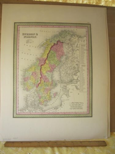 Vintage Print,SWEDEN+NORWAY,Johnson or Mitchell,c1850,Color