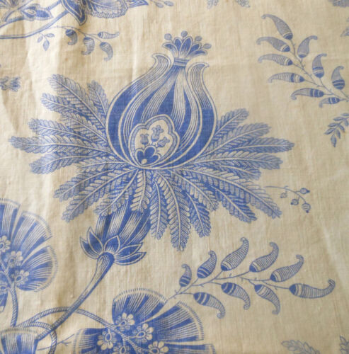 Antique19thc French Blue White Indienne Floral Toile Cotton Linen Fabric ~