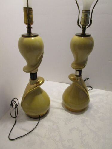 """Pair Ceramic TABLE LAMPS MID CENTURY Yellow BIOMORPHIC 20"""" H switch on column"""