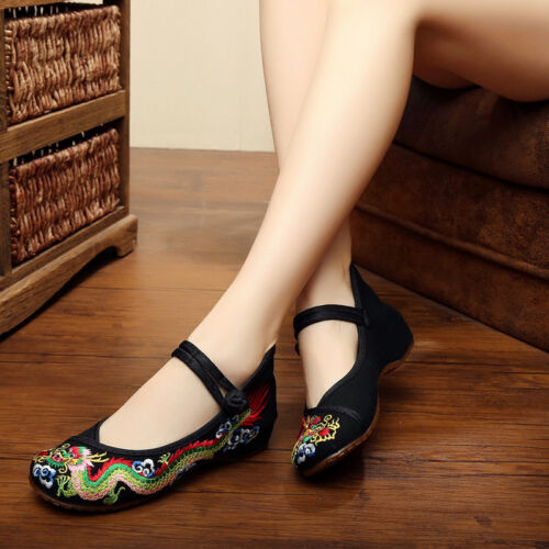Women Lady Soft Chinese Embroidered Casual Ballerina Mary Jane Flat Shoes Size