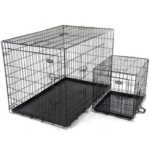 """Dog Puppy Metal Training Cage Crate Black Carrier S M L XL XXL sizes Easipet <br/> 20"""" 24"""" 30"""" 36"""" 42"""" 48"""" Heavy Duty Option UK Stock"""